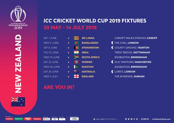ICC Cricket World Cup 2019 Fixtures